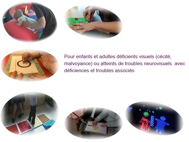 Pour enfants et asultes déficients visuels (cécité, malvoyance) ou atteints de troubles neurovisuels avec déficience et troubles associés